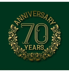 Golden emblem of seventieth years anniversary vector image vector image