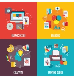 Graphic design icons flat vector image vector image
