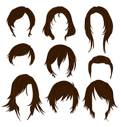 Hair styling for woman drawing Brown Set 2 vector image vector image