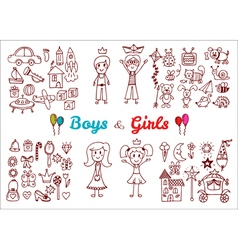 Hand drawn baby boy and girl toys set Elements vector image vector image