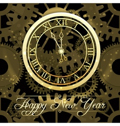 Happy new year background with gold clock vector