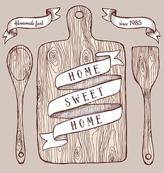 Homemade food poster with cutting board vector
