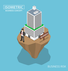 Isometric businessman build business building on vector