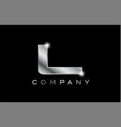 L silver metal letter company design logo vector