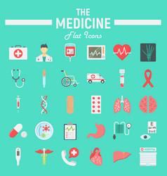 medicine flat icon set medical symbols collection vector image