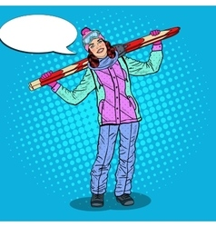 Pop art happy woman with ski on winter holidays vector