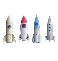 Rocket symbol icons set isolated realistic vector