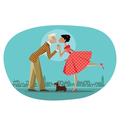 Romantic retro couple kissing vector image