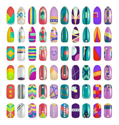 set of colored painted nails manicure nail vector image