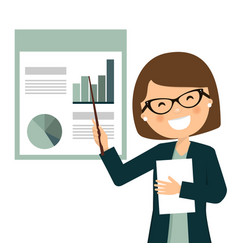 smiling businesswoman in a business presentation vector image