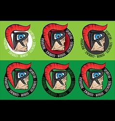 Spartan warrior face profile design graphic vector