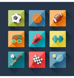 Sport icons set in flat design style vector image vector image