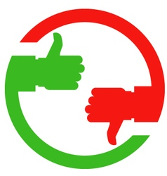 Thumb up and thumb down hands - vote or choice vector