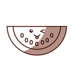 Watermelon fresh fruit kawaii character vector