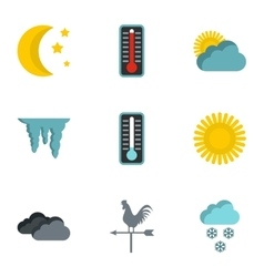 Weather forecast icons set flat style vector