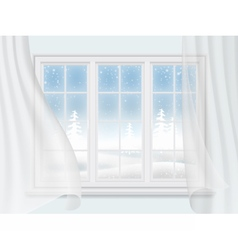 Winter window with curtains vector
