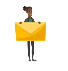 Young african-american man holding a big envelope vector