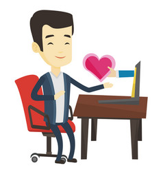 Young man dating online using laptop vector