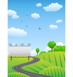 Road with billboard on countryside vector