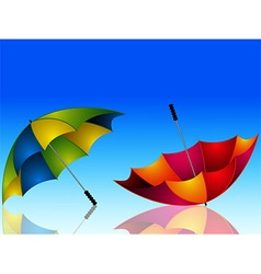 Umbrella and reflection on dark blue background vector image
