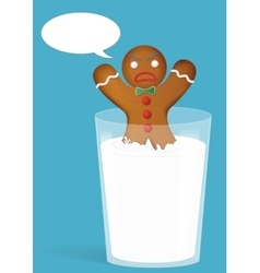 Gingerbread man in milk glass funny and angry vector