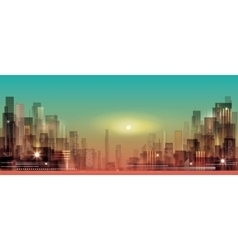 Modern night city cityscape vector image