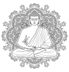 Seated meditating buddha vector