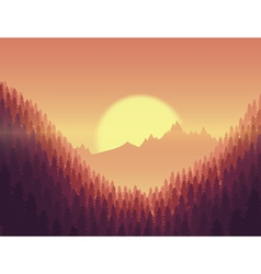 Background of landscape with deep fir forest vector