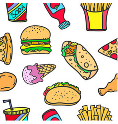 Food object style of doodles vector