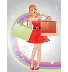 Shopping girl with red hair3 vector