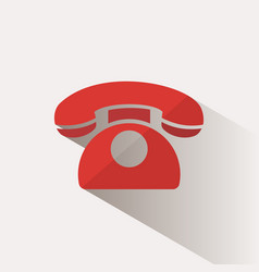 Red phone icon with shadow on a beige background vector