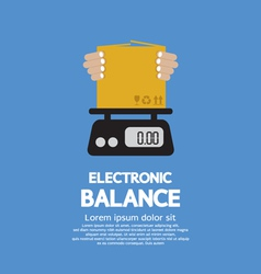 Cardboard box in hand on electronic balance vector