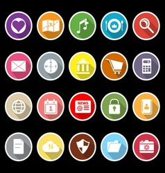 General application icons with long shadow vector