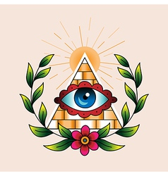 Tattoo pyramid vector