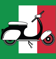 Vintage scooter type 2 on italian flag background vector