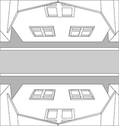 Graphic black and white top view houses on the vector