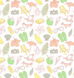 Cute hand drawn sketch line icons seamless pattern vector image
