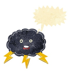 Cartoon cloud and lightning bolt symbol with vector
