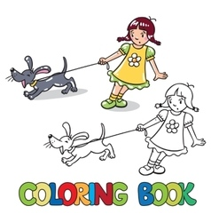 Girl with barking dog Coloring book vector image