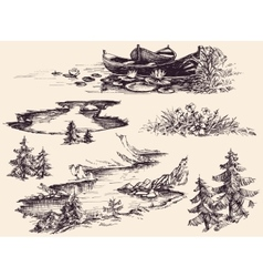 Nature design elements set boats on water river vector