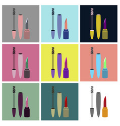 Assembly flat icons mascara and lipstick vector