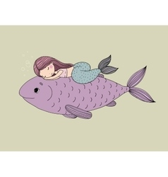 Beautiful little mermaid and big fish vector