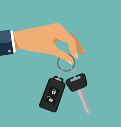 Buying the car the hand holding the car key with vector