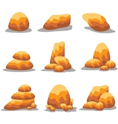 Collection golden stone set art vector