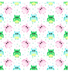 Cute sad pink blue green colored owls vector
