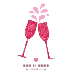 Doodle hearts toasting wine glasses silhouettes vector
