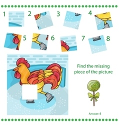 Find missing piece - puzzle game rooster vector
