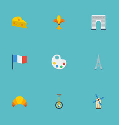 Flat icons palette tower unicycle and other vector
