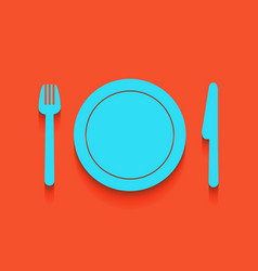 Fork plate and knife whitish icon on vector