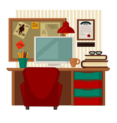 Home workplace colorful in vector